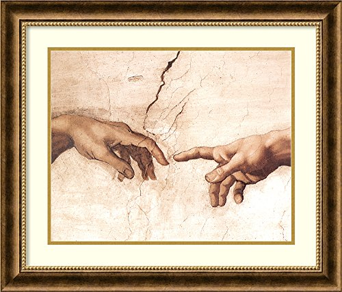 Framed Wall Art Print The Creation of Adam (Detail I) by Michelangelo Buonarroti 27.88 x 23.88 in.