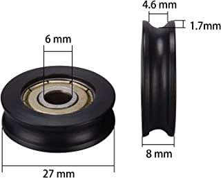 Nylon plastic Embedded 626ZZ Window Door Wheel U Groove Guide Pulley 6278mm ball bearing for 3D Printer,Pack of 10