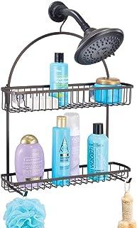 mDesign Colgador para ducha – Elegante cesta de ducha sin taladros – Estanterías para colgar de metal con dos cestas y dos ganchos para todos los accesorios para la ducha – color bronce