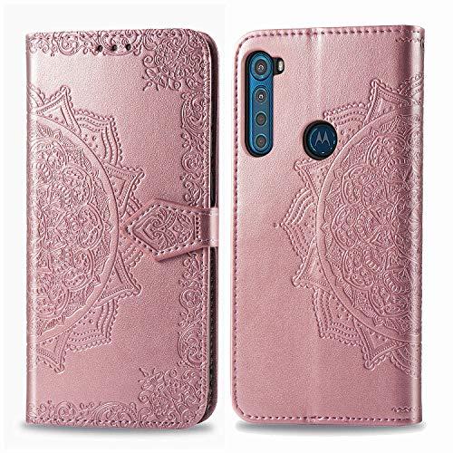 DOHUI für Motorola One Fusion Plus Hülle, Premium PU Leder Flip Wallet Tasche mit Standfunktion & Magnetisch Schutzhülle Handyhüllen passt für Motorola One Fusion Plus (Roségold)