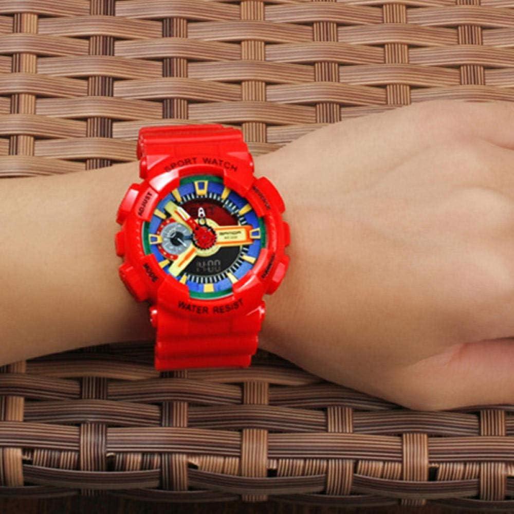 TWCAM Acero Cuero Pulsera Hombre- Mire El Reloj Electrónico De Doble Pantalla Reloj Masculino Multifunción Cuenta Atrás De Natación A Prueba De Agua, Rojo Colorido