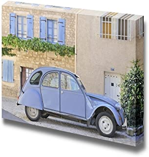 wall26 Classic French Provincial Village Scene Featuring Blue Car and Old Buildings with Shutters - Canvas Art Wall Decor - 12