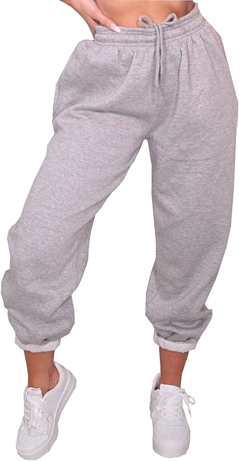 Mialoley Womens High Waisted Sweatpants Joggers Pants Drawstring Baggy Athletic Workout Trousers with Pockets