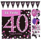 Feste Feiern Geburtstags-Deko 40. Geburtstag 31 Teile Party-Set Luftballon Wimpel Girlande Konfetti Serviette Tischdecke Pink Schwarz Lila metallic Happy Birthday 40