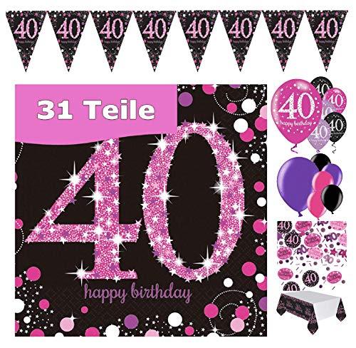 FestFeiern - Decoración de cumpleaños para 40 cumpleaños (31 piezas, incluye globos, banderines, guirnalda, confeti, servilletas, mantel rosa, negro, lila metalizado, Happy Birthday 40)