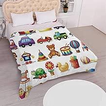 YOLIYANA Kids Warm Flannel Blanket,Cartoon Toys Print Drum Rocking Horse Plane Robot Carsken Teddy Bear Art Pattern for Car,68