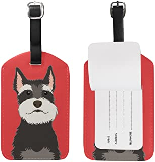 Mydaily Schnauzer Dog Luggage Tags PU Leather Bag Suitcases Baggage Label 2 Pieces Set