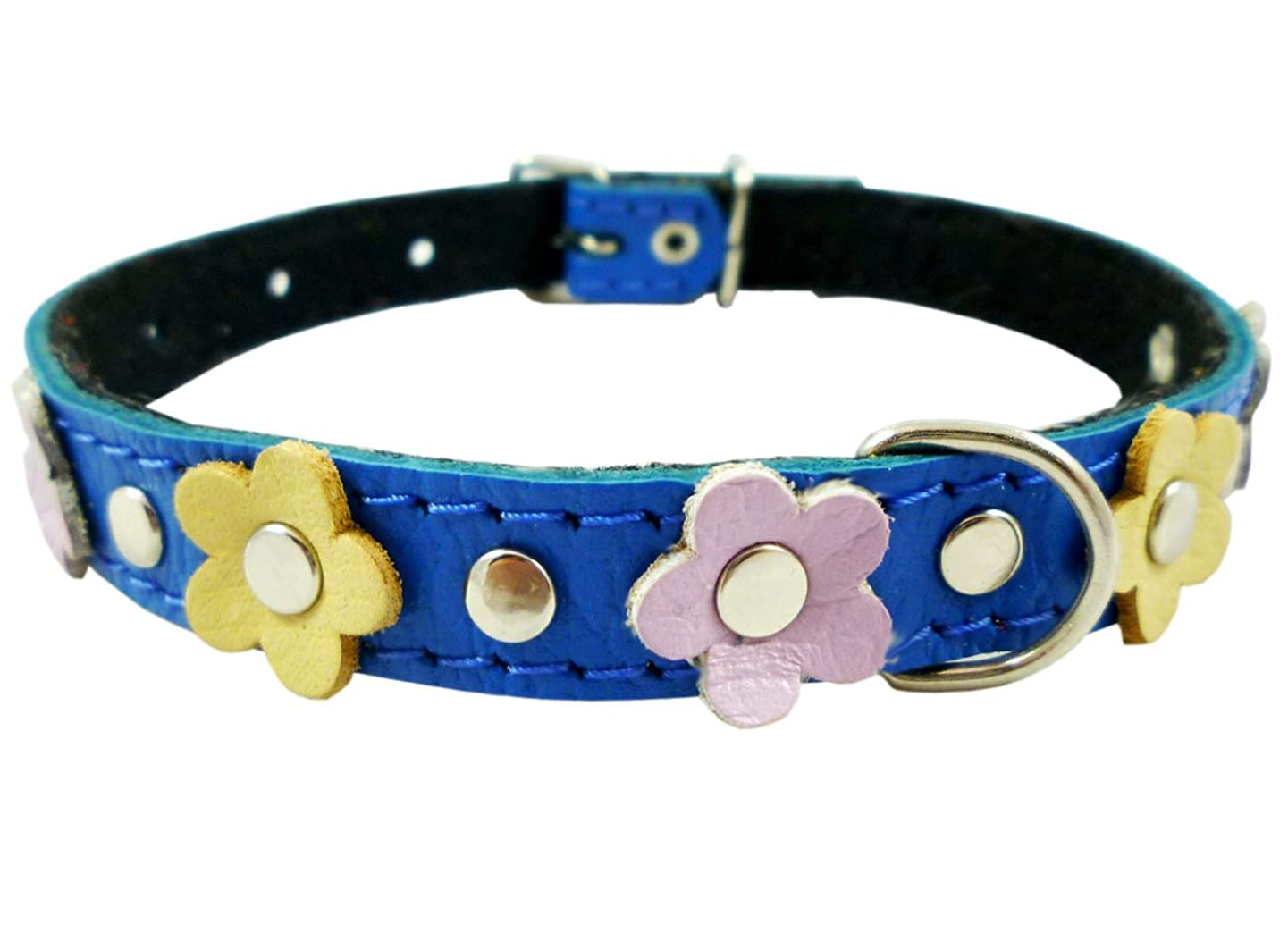 Genuine Leather Designer Dog Collar, Daisy, Studs. 11.5
