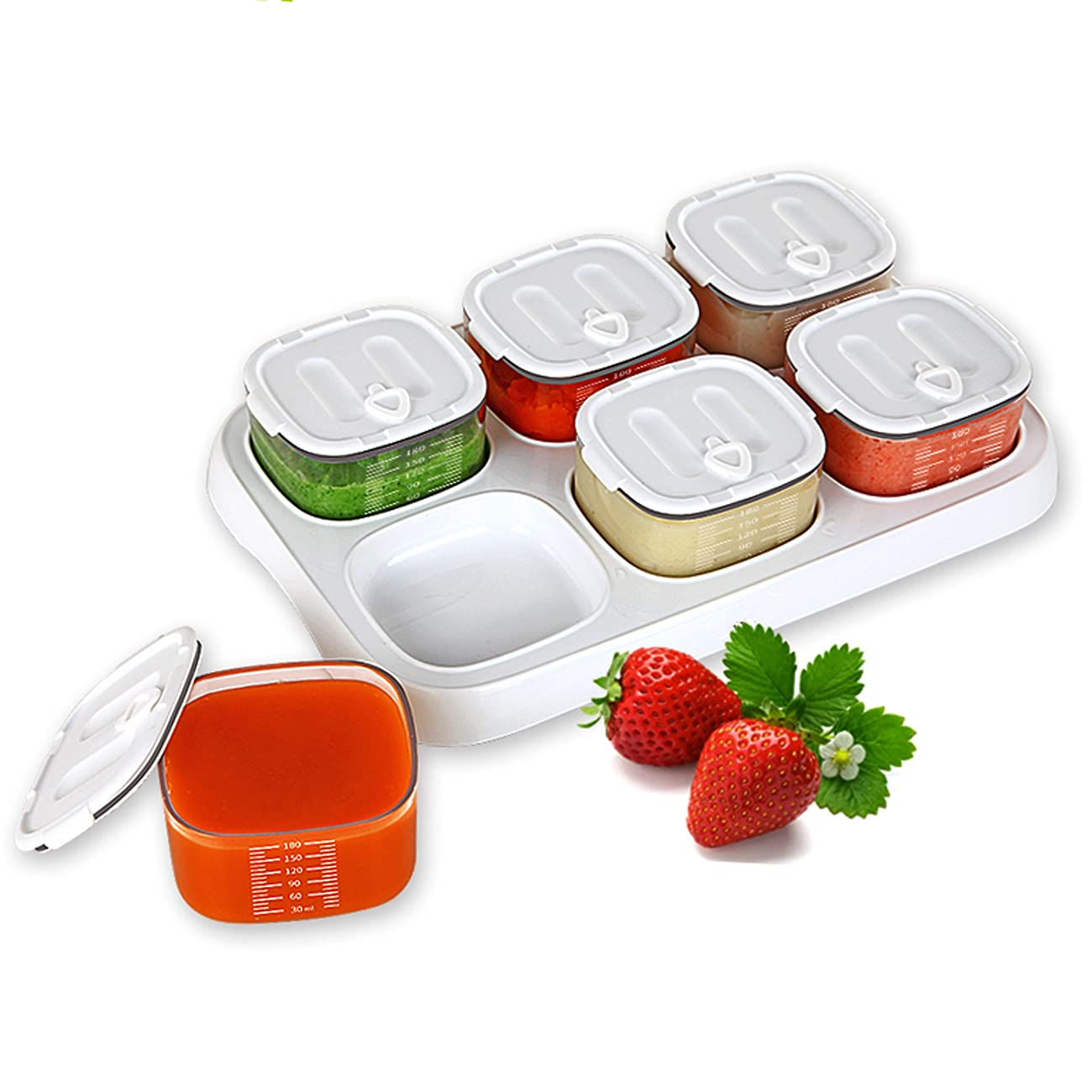ANLEMIN Leakproof Baby Food Storage Jars - Set of 6-6 oz Baby Food Storage Containers with Lids, Tritan Grade Freezer Storage, BPA Free Reusable Small Containers