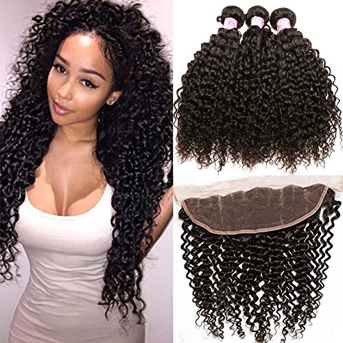 Beauty Forever Malaysian Curly Hair 3 Bundles Virgin Hair with 13x4 Lace Frontal Closure Free Part Unprocessed Human Virgin Curly Hair Weave Natural Color (16 18 20 with 14 frontal)