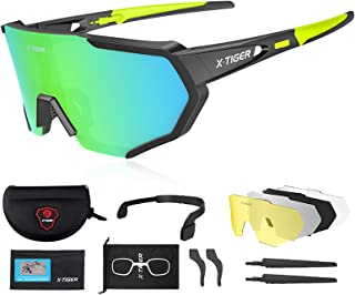 X-TIGER Polarized Sports Sunglasses with 3 or 5 Interchangeable Lenses,Mens Womens Cycling...