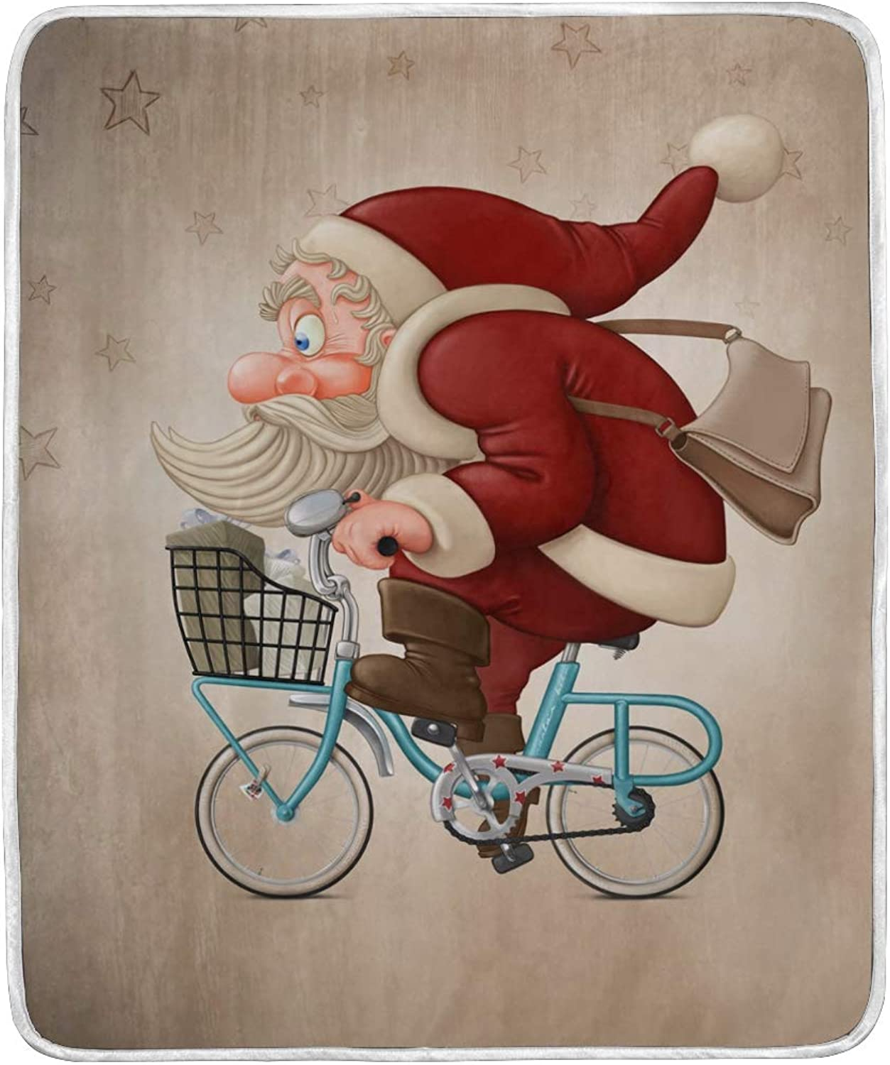 ALAZA Home Decor Vintage Santa Claus Rides Bicycle Christmas Blanket Soft Warm Blankets Bed Couch Sofa Lightweight Travelling Camping 60 x 50 Inch Throw Size Kids Boys Women