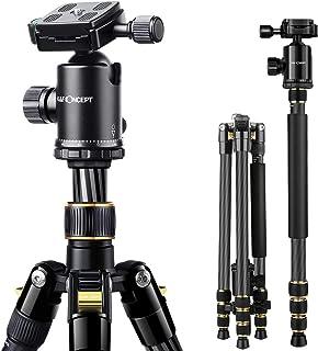 K&F Concept TC2534 Trípode Fibra Carbono Viaje con Monopié184cm 360° de Rótula de Bola Panorama Placa Rápida Liberación y Funda para Cámara Réflex Canon Nikon Sony hasta 12kg
