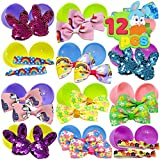 12 PCs Prefilled Easter Eggs with Hair Bows and Grosgrain Ribbon for Kids Basket Stuffers, Easter Decorations, Easter Dresses for Girls Children Fun, Easter Egg Hunt Game, Easter Décor Gifts and Party