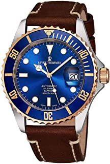 Revue Thommen Diver Mens Automatic Dive Watch - 42mm Blue Face with Luminous Hands, Magnified Date, Sapphire Crystal - Rose Gold Bezel Brown Leather Band Swiss Made Waterproof Diving Watch 17571.2555