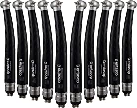 Coxo 5 Pcs Black Color Highs Speed 4 Hole Ceramic Bearing Air Turbine Push Botton Standard Head Handpiece for Dental