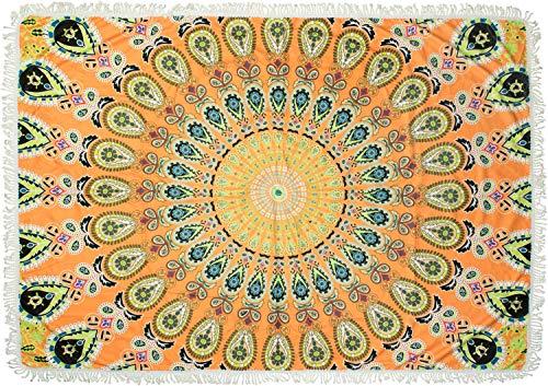 styleBREAKER Toalla de Playa Rectangular con un Colorido Motivo de Mandala Impreso en Estilo ETNO, Borde de Franja, Toalla, Toalla de baño, Unisex 05050093, Color:Naranja