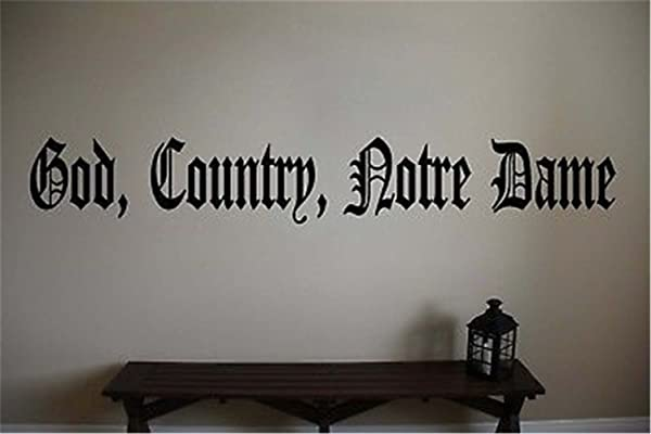 Fotokun Wall Art Decal Sticker Words Wall Saying Words Removable Mural God Country Notre Dame For Bedroom