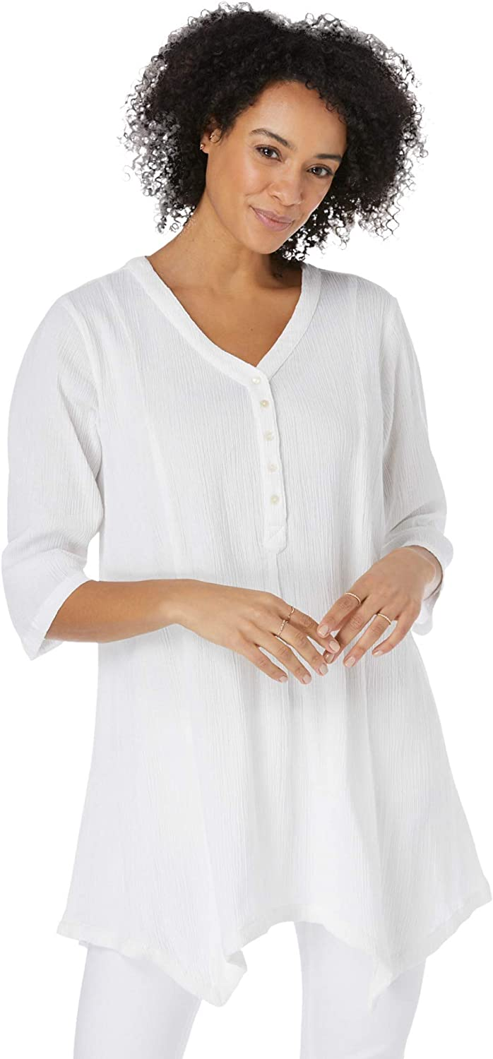 Woman Within Women's Plus Size V-Neck Henley Tunic
