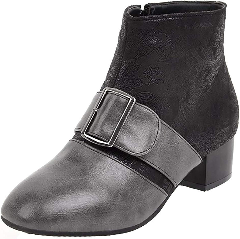 Ghssheh Women's Trendy Buckle Zipper Square Toe Ankle High Mid Block Heel Short Boots Black 5.5 M US