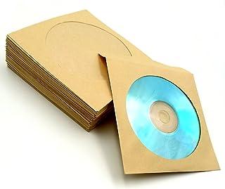 (TUISKU) CD ケース DVD 紙 製 クラフト紙 300枚 入 茶色 収納 整理 プレゼント に (クラフト紙)