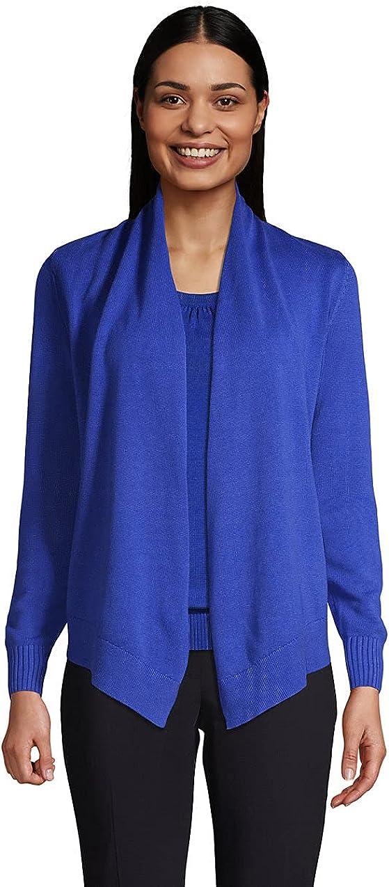 Lands' End Women's Cotton Modal Open Drape Cardigan