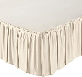 Ruffled Bed Skirt- 10 Inch Drop (Queen, Ivory) Dust Ruffle with Platform (Available in All Bed Sizes and Colors)