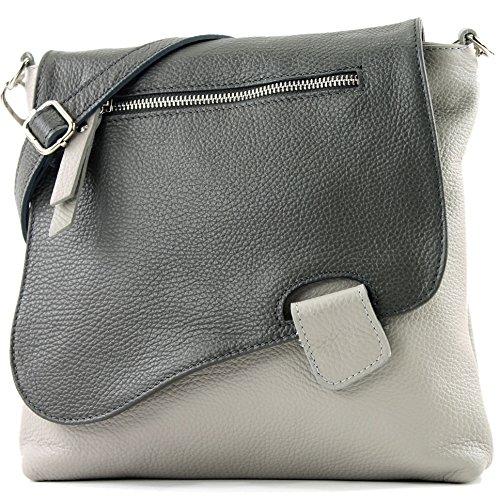 modamoda de - T146 - ital Messengertasche Umhängetasche aus Leder, Farbe:Grau/Dunkelgrau
