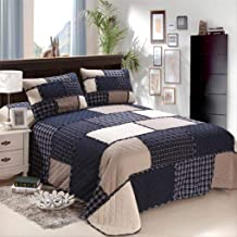 230×250cm Dark Blue Block Patchwork Bedspread with 2 Pillowcases Cotton Quilted Quilt Bed Cover Lattice Blanket