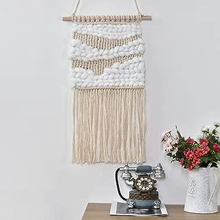 Macrame Wall Hanging,Sundlight Handmade Woven Wall Art Boho Home Decor Cotton Yarn with Wood Stick for Kids Room Living Room,35.5cm x 58cm