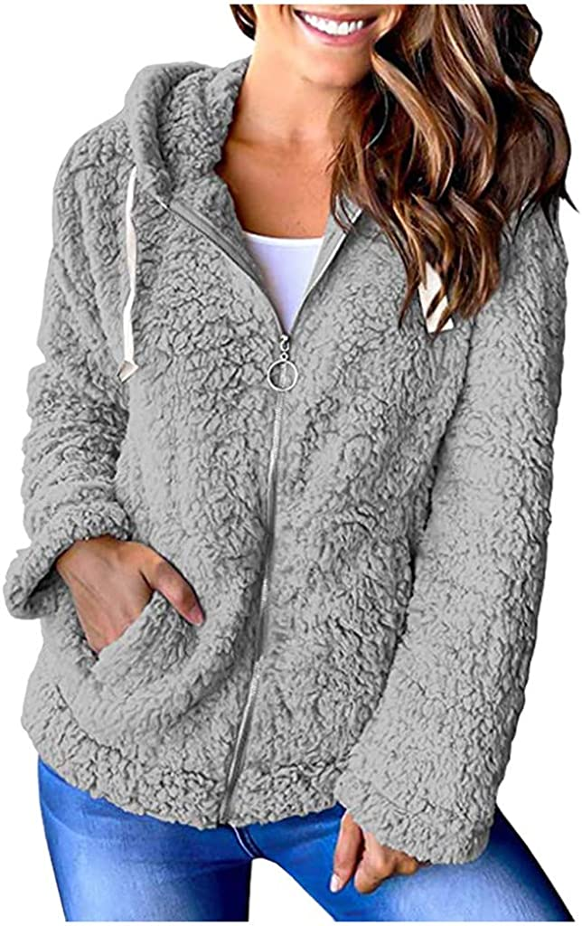 POTO Sherpa Hoodies for Women Solid Fleece Drawstring Sweatshirt