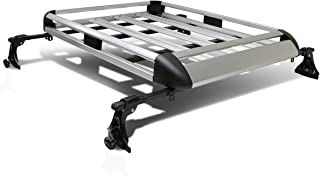 50 inches x 31 inch Aluminum Roof Rack Top Cargo Carrier Basket+Cross Bar (Silver)