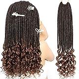 Box Braids Crochet Braids Hair Curly Ends Synthetic Crochet Braiding Braids Hair 18Inch 7Packs/lot(T1B/30#)…