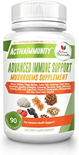 Mushroom Iummune Supplement for Daily Immunity Health Support with Shiitake, Maitake, Turkey Tail, Agarikon, Lions Mane, Reishi, Chaga and Cordyceps Dietary Supplements, 90 Veggie Caps