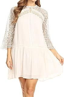 Womens A-line Flowy 3/4 Bell Sleeve Semi Sheer Lace Crochet Oversized Swing Mini Dress