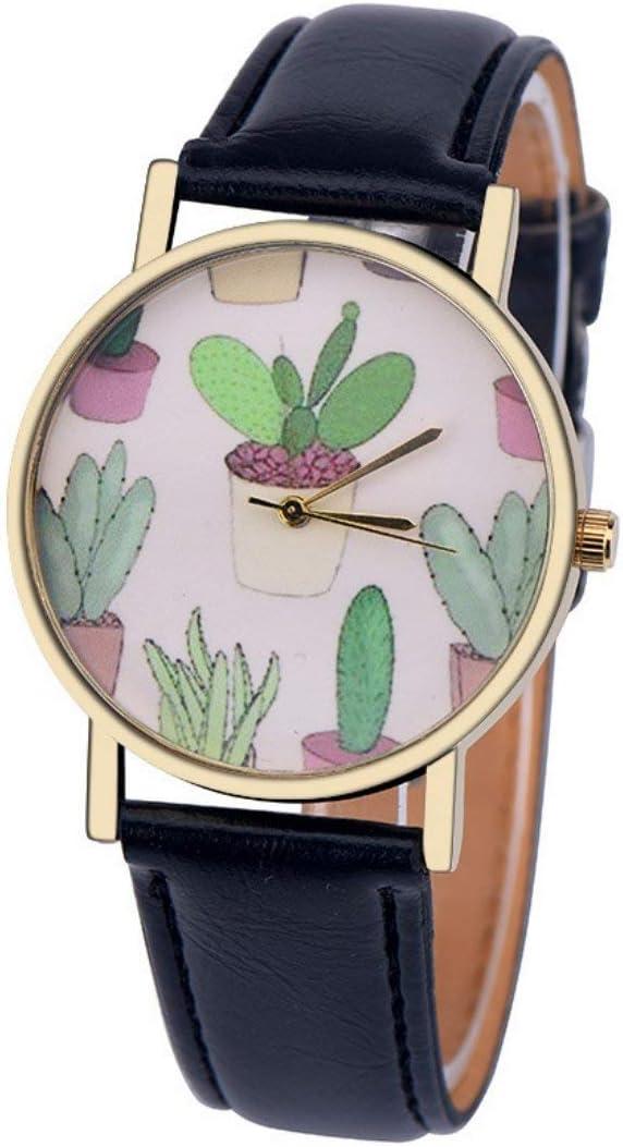 Wensltd Elegant Women Classy Cactus Pattern Super sale period limited Band Leather Plant Qu Analog