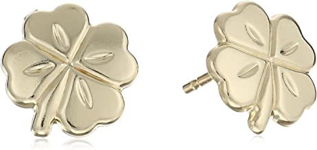 14k Yellow Gold Four Leaf Clover Stud Earrings