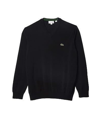 Lacoste Long Sleeve Solid V-Neck Sweater (Black) Men