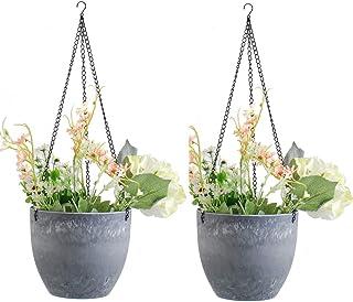 Hanging Planters Flower Plant Pots - 7.9 Inch Hanging Flower Pots, Haning Planters with Drain Holes for Indoor Outdoor Pla...