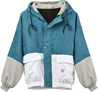 PEIZH Women Corduroy Stitching Short Jacket Long Sleeve Corduroy Patchwork Oversize Jacket Windbreaker Coat Overcoat