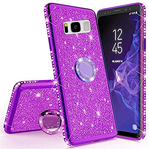 Miagon Hülle Glitzer für Galaxy S8,Luxus Glänzend Mädchen Frauen Weich Silikon Handyhülle mit Strass Diamant 360 Grad Ständer Schutzhülle Etui Cover für Samsung Galaxy S8