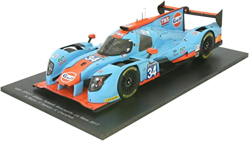 SPARK- Ligier-Js P217 Gibson Lmp2-Le Mans 2017 Voiture Miniature de Collection, 18S324, Bleu Orange