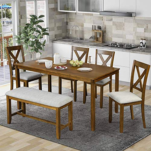 LUMISOL 6 Piece Dining Table Set with Bench, Wooden Farmhouse Kitchen Table Set with 4 Padded Chairs and Bench (Brown)