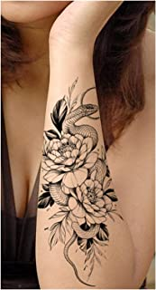 Qqinghan Zwart Grote Snake Flower Fake Tattoo Sticker Voor Dames Dot Rose Peony Tijdelijke Tatoeages DIY Water Transfer Ta...