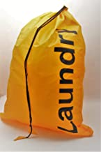 Kleiber Laundry Bag with Draw String Closure, Yellow, Fabric, 24 x 16 x 1 cm
