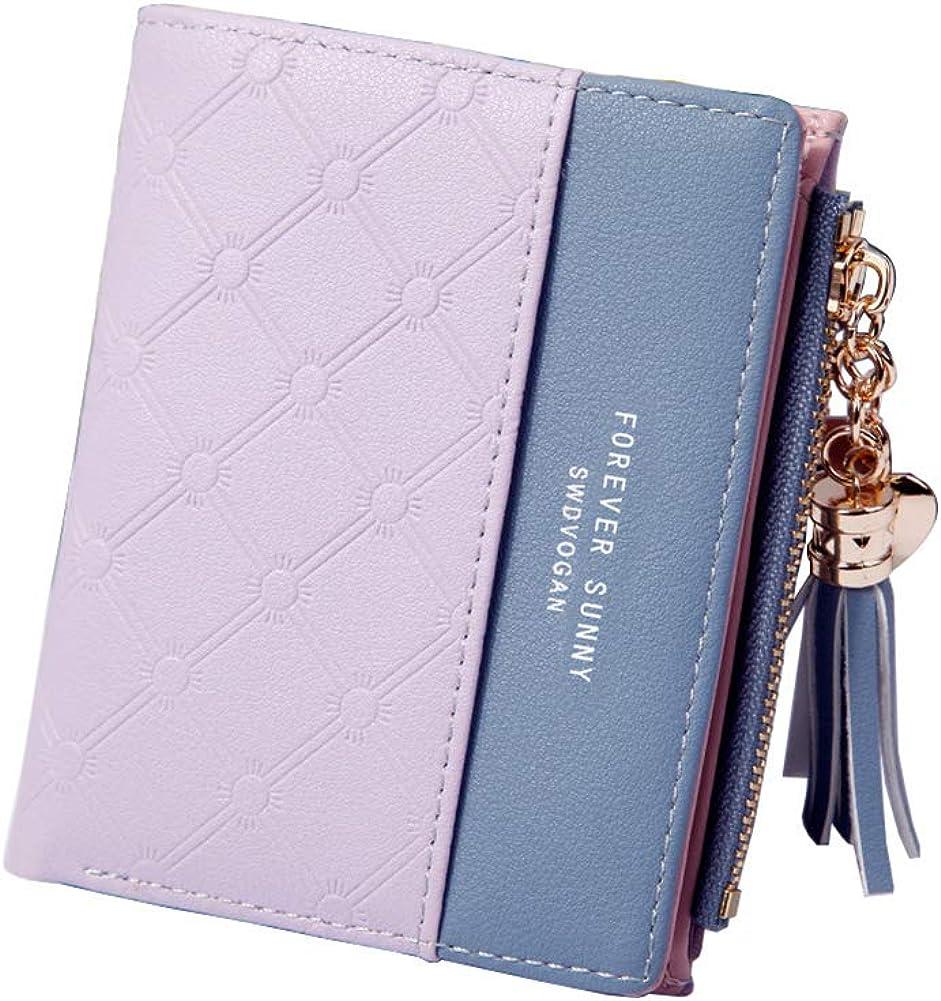 Belsmi Women Small Compact Rfid Blocking Leather Wallet Clutch Purse Card Holder Organizer Lightweight Zipper Coin Purse Bifold Trifold Wallets