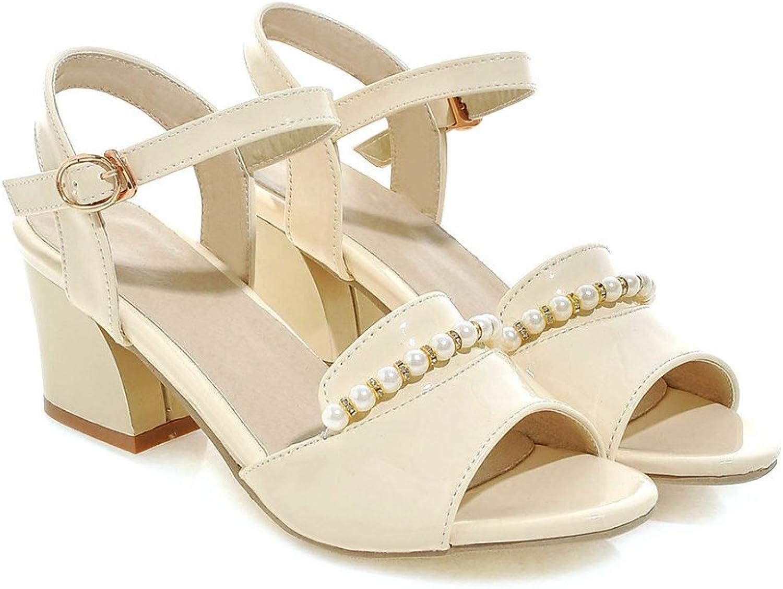 AIWEIYi Womens Pearl Chains Chunky High Heel Sandals Platform Pump Pink