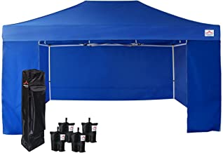 UNIQUECANOPY 10'x15' Ez Pop Up Canopy Tent Commercial Instant Shelter, with 4 Removable Zippered Side Walls and Heavy Duty Roller Bag, 4 Sand Bags Blue