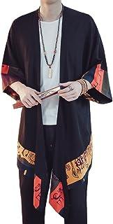 Hotmiss Men's Cardigan Long Length Lightweight Poncho Cloak Open Front Cape Coat