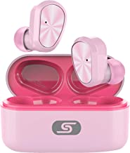 TWS Bluetooth 5.0 Wireless Earbuds Headset SZSAGO W9 True Wireless Earphones for iPhone/Samsung IPX7 Waterproof Smart Bluetooth Headphones Headsets with Patented Intelligent Charging case (Baby Pink)